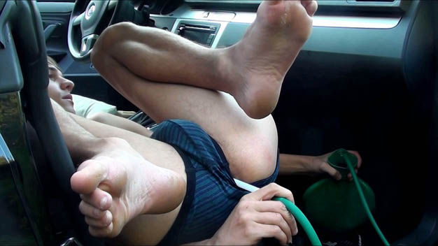 Guy gets his ass filled via enema