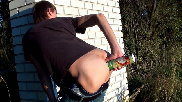 Whipped cream enema in boy's ass